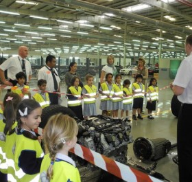 Elementary students of the Al Khubairat British School of Ab Dhabi are given training by EMC