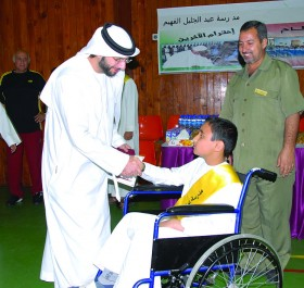 H.E Eissa A. J. Al Fahim meets students to instill motivation and optimism among students at the school.